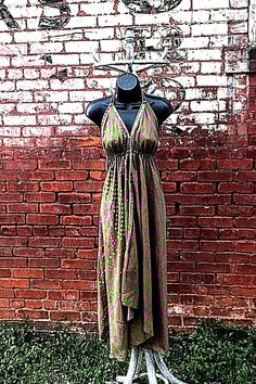 Excited to share the latest addition to my #etsy shop: SALE Bohemian Festival Dress/ Ethnic Dress/Green Party Dress/ BoHo Dress/ Bridesmaid Dress/ Hippie Dress/ Women's Silk Apparel/ Summer Dress