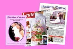 Beispiele vieler Hochzeits- Zeitungen / Illustrierten / Heften