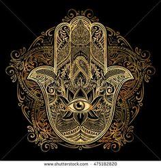 Illustration of Hand drawn Ornate amulet Hamsa Hand of Fatima. Ethnic amulet common in Indian, Arabic and Jewish cultures. vector art, clipart and stock vectors. Hamsa Tattoo, Mandala Tattoo, Mandala Art, Fatima Hand, Hamsa Prayer, Hand Tattoos, Sleeve Tattoos, Tatouage Main Hamsa, Dibujos Zentangle Art