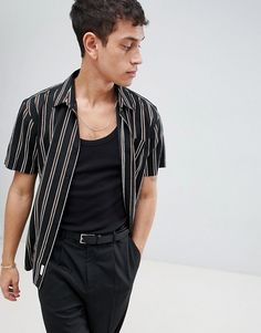 Bellfield Short Sleeve Shirt With Vertical Stripe #ad #men #fashion #shopping #outfit #inspiration #style #streetstyle #fall #winter #spring #summer #clothes #accessories
