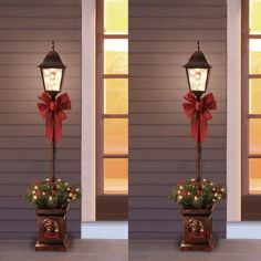 Two Holiday Time Pre-Lit Christmas Lamp Post Tree, Clear Lights Gold Christmas Decorations, Christmas Lanterns, Christmas Swags, Christmas Makes, Christmas Holidays, Christmas Crafts, Christmas Ornaments, Holiday Decor, Christmas Lamp Post