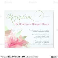 Stargazer Pink & White Floral Wedding Reception 4.25x5.5 Paper Invitation Card