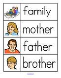 There are two sets of word walls with different looking families.