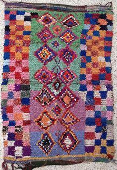 "80""X53"" Vintage Moroccan rug woven using different scraps of used textiles / boucherouite / boucherouette"