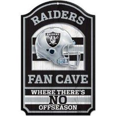 """Oakland Raiders NFL 11-by-17 inch """"Fan Cave, No Offseason"""" Wood Sign NEW FREE SHIPPING"""