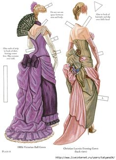 corset couture Gorgeous over the shoulder pose, with complicated and somewhat obnoxious application instructions. It brings up the age old question: what is the point of having a paper doll if the face is the only thing the changes between costumes Victorian Paper Dolls, Vintage Paper Dolls, Fashion Illustration Vintage, Illustration Mode, Victorian Ball Gowns, Paper Art, Paper Crafts, Paper Doll House, Paper Dolls Printable