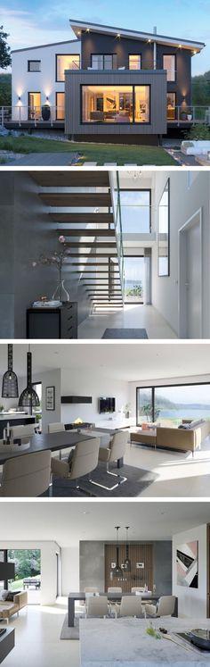 Modernes Design Haus Mit Pultdach Architektur U0026 Galerie   Einfamilienhaus  Bauen Fertighaus Concept M 170