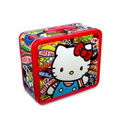 Hello Kitty Sticker Print Lunch Box This metallic lunch box is sure to brighten anyone