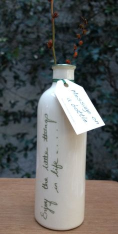 A new range of stoneware bottles which are hand inscribed with one of six inspirational messages of relevance today. NO 1' Enjoy the little things in life'. http://www.marketdirect.ie/index.php?route=product/product&path=75_61&product_id=815