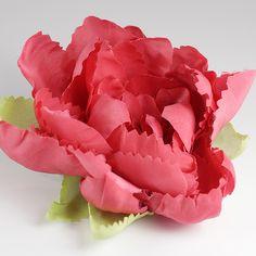 jedwabna róża karminowa z listeczkami