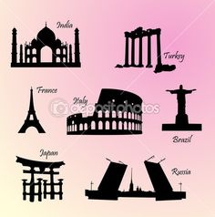 Landmarks countries of the world
