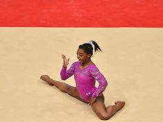 US gymnast Simone Biles competes on the floor on the