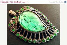 CIJ Sale Art Deco Pendant Necklace Green by BrightgemsTreasures
