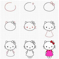 How to draw Hello Kitty Cute Easy Drawings, Art Drawings For Kids, Doodle Drawings, Drawing For Kids, Doodle Art, Art For Kids, Crafts For Kids, Art Children, Directed Drawing