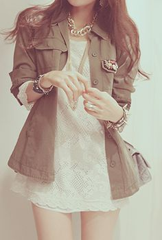 Green jacket and white dress. Super cute outfit.