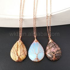 WT-N809  Vintage Handmade Copper Wire Wrapped Tree Of Life