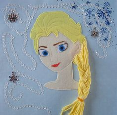 "Page ""Frozen Elsa"" in the ""Polka dot"" quiet book"