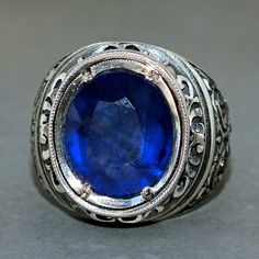 Sapphire Mens Ring Sterling Silver unique handcrafted Jewelry natural sapphire #KaraJewels