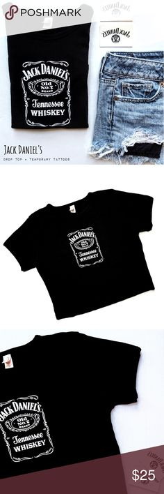 {Anvil} Jack Daniel's crop top Anvil * Short Sleeve Crop Top * Size Large * Black  * White Graphic Logo on Front * DIRECT FROM BROWN FOREMAN/JACK DANIELS * BRAND NEW - FLAWLESS  * Shirt * T-Shirt * Summer * Festival * Liquor * Alcohol  * Whiskey * Print * TN * Tennessee * Old No. 7 * Tops Crop Tops