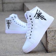 Fashion Men's Shoes Hot Sale White High-top Casual Canvas Shoes Men Korean Version Of The Trend Sneakers Trainers Leisure Shoes - Men's style, accessories, mens fashion trends 2020 Moda Sneakers, Sneakers Mode, Casual Sneakers, Shoes Sneakers, Men Shoes Casual, White Sneakers, Retro Sneakers, Men Casual, Adidas Shoes