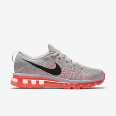 finest selection 3fd22 4aa21 Chaussure de running Nike Flyknit Air Max pour Femme Pas Cher Cendré  violet Hyper orange Voile Noir