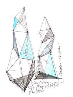Glass vodka bottle by Karim Rashid for AnestasiA - livia Karim Rashid, Triangle Art, Industrial Design Sketch, Clinic Design, Paper Artwork, Technical Drawing, Geometric Designs, Geometric Art, Sketch Design