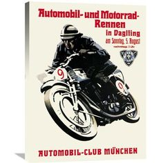 Global Gallery 'Automobile and Motorcycle Race - Munich' Vintage Advertisement on Wrapped Canvas Size: