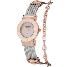A smooth rose goldtone bezel and accent bracelet adds style to this polished Charriol watch. A durable twisted cable bracelet and easy-to-read dial with diamond indices completes the look of this fine timepiece.