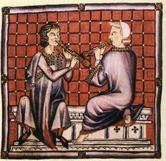 Cantiga, color de iluminación que ilustra una de las canciones que se está reproduciendo por el instrumento período comprendido entre: Las Cantigas de Santa María (Cantares de Santa María)