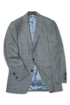 This elegant mid-grey suit jacket is cut from soft and warming lambswool, fabric woven in England by Marling & Evans with subtle white and mid-blue overchecks. Woven Fabric, Suit Jacket, Blazer, Jackets, Men, Clothes, Fashion, Down Jackets, Outfits