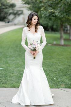 Lace embroidered long sleeve wedding dress; Photo: Tamara Gruner Photography