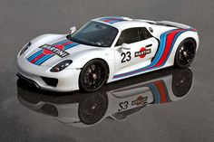 Porsche 918 Spyder Martini Concept.  Porsche tips its hat to the legendary, championship-winning Martini Racing Team of the 70s with a very special edition of their 918 Spyder Concept. The 918 will now be making its test runs around the Nüburgring in the iconic, Martini livery.