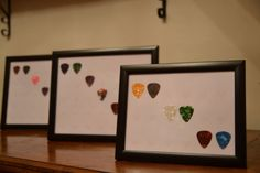 Display your own Guitar picks - including up to 8 celluloid picks on Etsy, Used Guitars, Guitar Gifts, Frame Display, Bass, Garage, Colours, Gift Ideas, Fun, Carport Garage