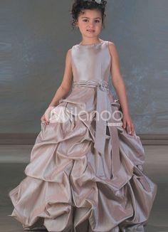 Taffeta Sash Flower Girl Dress