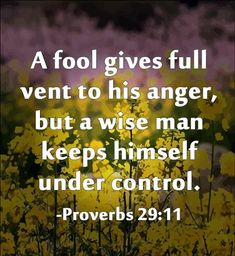 A fool gives full vent to his anger, but a wise man keeps himself under control. -Proverbs Good advice, even if it came from the bible. Bible Verses Quotes, Bible Scriptures, Me Quotes, Anger Quotes, Scripture Verses, Quotes About Anger, Beauty Quotes, Crush Quotes, The Words