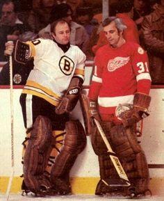 Gerry Cheevers (Bruins) and Eddie Giacomin (Red Wings) Rangers Hockey, Hockey Goalie, Hockey Games, Boston Bruins Goalies, Hockey Pictures, Hockey Logos, Goalie Mask, Boston Sports, Vancouver Canucks