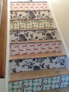 Wallpaper Staircase Makeover Source: Pretty Dandy Co.