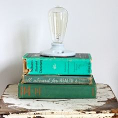 How to make an industrial style lamp from some vintage books and parts found at the hardware store, in an easy step by step tutorial.