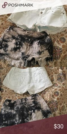 Brainy Melville shorts Both are size 40. One is an iceberg blue color and other is b w tie dye. Price is for each one or I can bundle them together for discount. Let me know. No trades. Offers welcome. Size 40 is like a 2 or 4 idk but it fits me and I'm a 2 or 4. Brandy Melville Shorts Jean Shorts