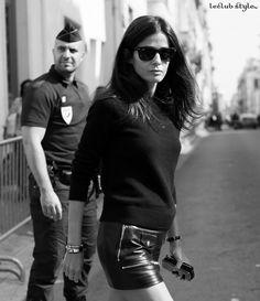 Womenswear Street Style by Ángel Robles. Fashion Photography from Paris Fashion Week.  Barbara Martello black & white portrait on the street, Paris.