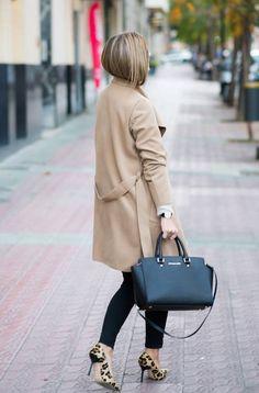Leopard Heels And Camel Coat Fall Street Style Inspo