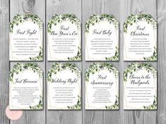 Greenery Milestone Wedding Tags Wine Tag Firsts milestone | Etsy Wedding Wine Labels, Wedding Tags, Wedding Stuff, Wedding Ideas, Wine Tags, Wine Bottle Labels, Potion Bottle, Cheers, Adobe Reader