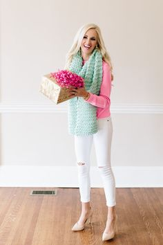 This sweater and scarf. Pink Holiday + 12 Days of Giveaway - Mckenna Bleu Holiday Outfits, Fall Outfits, Spring Summer Fashion, Autumn Winter Fashion, Preppy Christmas, Mckenna Bleu, Cold Weather Fashion, Bright Spring, Spring Colors