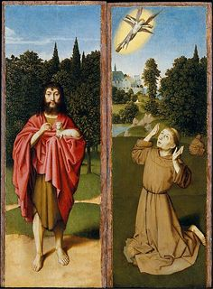 Saint John the Baptist; Saint Francis Receiving the Stigmata, c.1485-90, Gerard David; St John is shown with his lamb of God attribute; the crucified Christ is portrayed with angelic wings. (Metropolitan Museum of Art)
