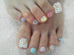 mint - pink - blue - white - polka dots - bows pedicure - nail art