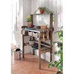 Garten-Arbeitstisch, verzinkte Metall-Arbeitsfläche mit drei Schubfächern, Kiefernholz geölt aus Polen Vorderansicht