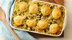 This tuna casserole is anything but basic. We took a classic recipe and dressed it up with cheesy crescent pinwheels and spinach. And thanks to rotisserie chicken, your tuna noodle casserole can easily be transformed into chicken noodle casserole.