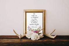Wall art Bible Verse Art Printable Scripture by TwoBrushesDesigns #Psalm