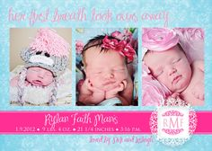 Baby Girl Birth Announcement  pink & blue by gwenmariedesigns, $15.00