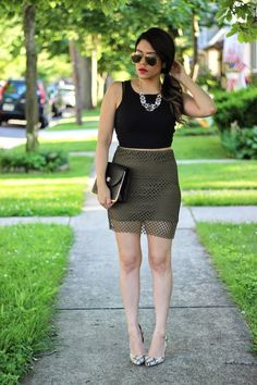 We love this olive summer look from A Love Affair with Fashion.